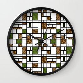 Modern Art Crocodile Giraffe and Leopard Skin Grid Pattern Wall Clock