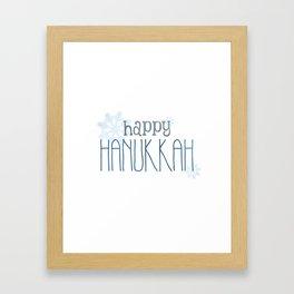 Happy Hanukkah | Snowflakes Framed Art Print