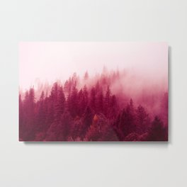 Red Forest Fog Metal Print