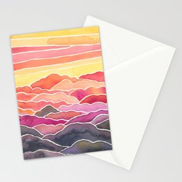 Above the Clouds Watercolor Painting Stationery Cards