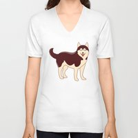 husky V-neck T-shirts featuring Husky Dog by TinyBee