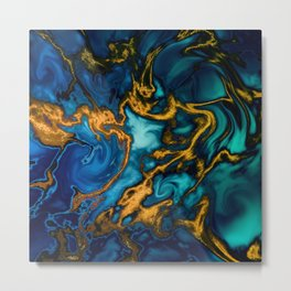 creation blues with gold teal marble liquid Metal Print