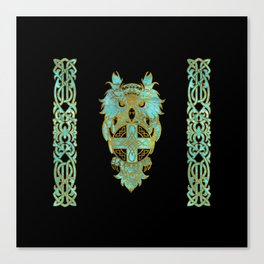 Gold and glass owl with celtic cross Canvas Print