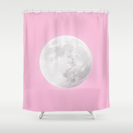 WHITE MOON + PINK SKY Shower Curtain