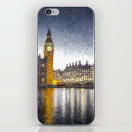 Westminster At Night Snow iPhone Skin