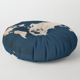 Inverted Rustic World Map Floor Pillow