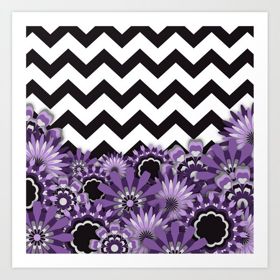 Purple Flower Chevron Art Print