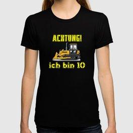 Achtung! Ich bin 10 Geburtstag baufahrzeuge T-shirt