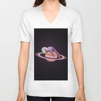 saturn V-neck T-shirts featuring SATURN by AMESMACOISA
