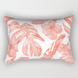 Tropical Hibiscus and Palm Leaves Dark Coral White Rectangular Pillow