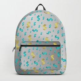 gold,blue silver metal dollar Backpack