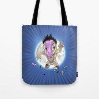 hentai Tote Bags featuring KWeb #6 : Hentai Kamen (colors) by Adrien ADN Noterdaem