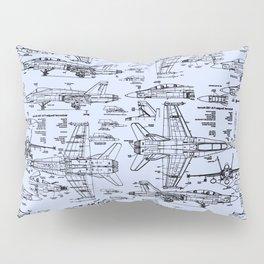 F-18 Blueprints // Light Blue Pillow Sham