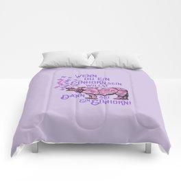 Nashorn Einhorn Motivation Humor Comforters