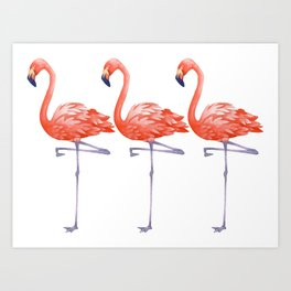A Colorful Flamingo Triune Art Print