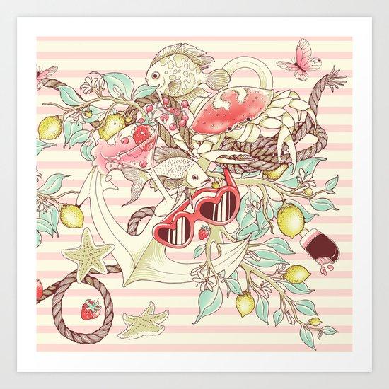 Sea, Sun and Fun - Pt. 2 - pink tones Art Print