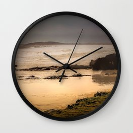 Stormy Day At Gallows Beach Wall Clock