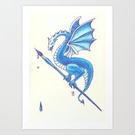 Blue Dragon Art Warrior Art Print