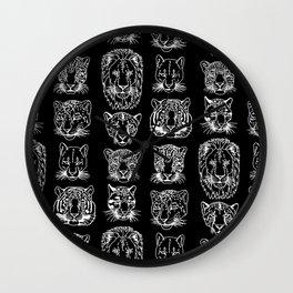 Kickass Kitties - white on black Wall Clock