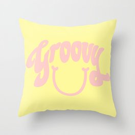 Groovy Smile // Fun Retro 70s Hippie Vibes Lemonade Yellow Grapefruit Pink Lettering Typography Art Throw Pillow