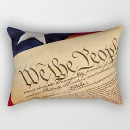 Constitution: Overhead View of USA Constitution and Flag Rectangular Pillow