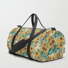 watercolor sun flowers garden Duffle Bag