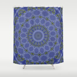 Blue and Yellow Abstract Kaleidoscope Shower Curtain