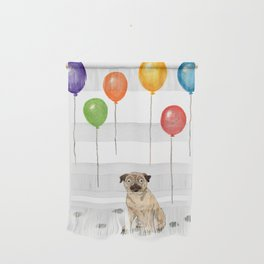 Pug with balloons Wall Hanging