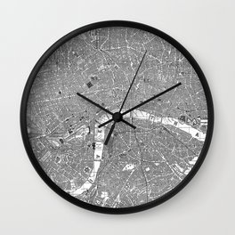 Vintage Map of London England (1862) BW Wall Clock