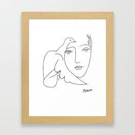 Pablo Picasso Peace (Dove and Face) T Shirt, Sketch Artwork Framed Art Print