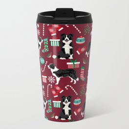 Border Collie christmas stockings presents holiday candy canes dog breed pattern Metal Travel Mug