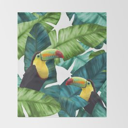 Toucans Tropical Banana Leaves Pattern Throw Blanket