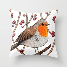 Christmas winter robin Throw Pillow