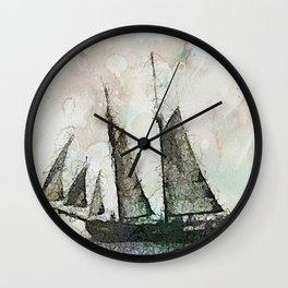 Schooner - vintage art Wall Clock