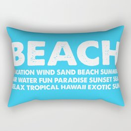 BEACH-white Typography on Aqua for your summer - Mix & Match Rectangular Pillow