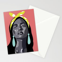 woman with color block accesories Stationery Cards