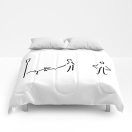 with dog and lantern Comforters