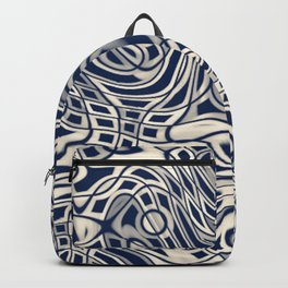 Abstract Blue and Cream Backpack
