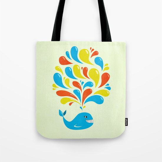 Colorful Swirls Happy Cartoon Whale Tote Bag