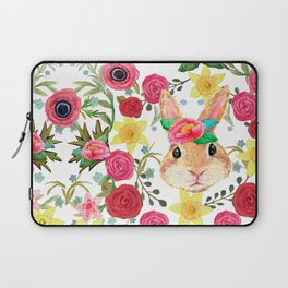 Easter rabbit with spring flowers, watercolor Laptop Sleeve