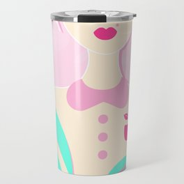 A girl with a top knot. Travel Mug