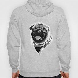 happy pug vector art black white Hoody