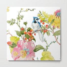 Bluejay Bird Day Floral Metal Print
