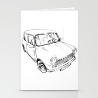 mini cooper Stationery Cards featuring Mini Cooper by Neko Naku