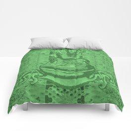 Mossy Deep Green King Frog Smile Comforters