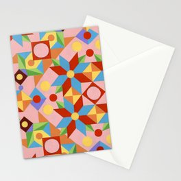 Pink Patchwork Quilt (printed) Stationery Cards
