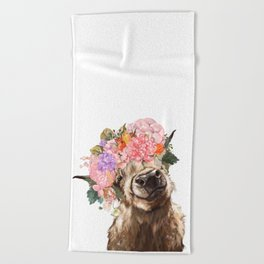 Highland Cow with Flower Crown Beach Towel