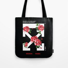 Broken Roses Off White Cross Arrows Tote Bag