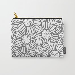 Field of daisies - gray Carry-All Pouch