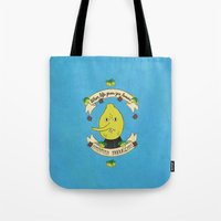 lemongrab Tote Bags featuring LEMON GRAB LEMONS by Alyssa Leary